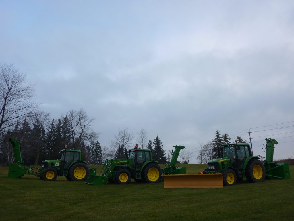 Zuidberg front 3pt hitches on John Deere tractors with front mounted snow removal equipment